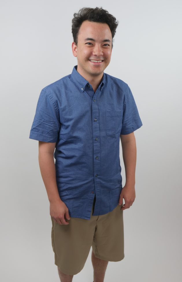 ad552518c9 Wearing a slim-fit short-sleeve solid oxford indigo shirt by Goodthreads  ( 25)  and a classic-fit quick-dry golf short by Amazon Essentials ( 19).