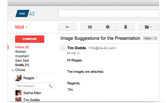 Gmail's current design as viewed on the web