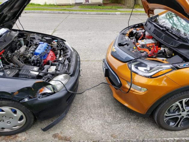 Since the Bolt EV has a standard 12V battery, it can still provide ICE cars with a jump