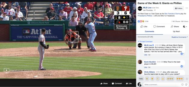 93c179735cf69 A screenshot from last week s MLB game on Facebook. (Via MLB Live on  Facebook)