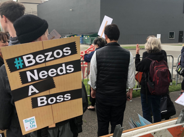 Protestors Stand Outside Amazonu0027s Shareholders Meeting In Seattle On  Wednesday Morning. (GeekWire Photo / Todd Bishop)