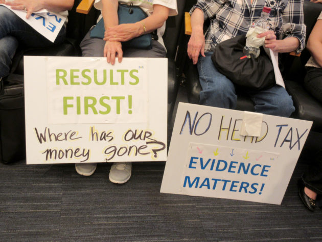 Opponents of the head tax at the City Council meeting Monday