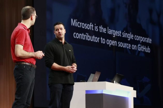 Microsoft EVP Scott Guthrie and Jason Warner senior vice president of technology at GitHub at Microsoft Build 2018