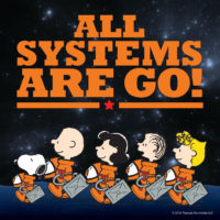 Peanuts gang in spacesuits