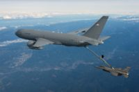 Boeing KC-46 refuels F-16