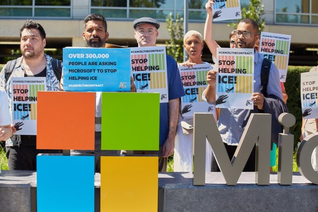 Immigration activists deliver 300K signatures to Microsoft HQ