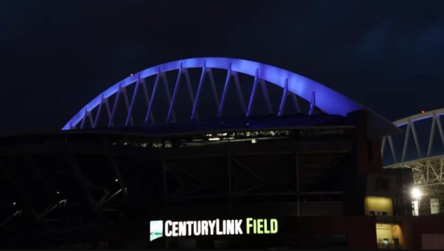 CenturyLink Field in blue