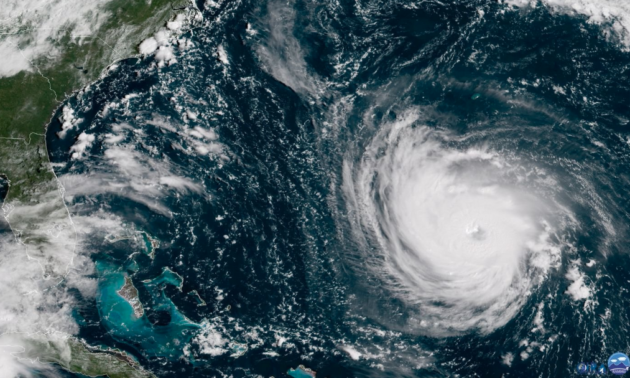 A satellite image showing Hurricane Florence in the Atlantic Ocean this week