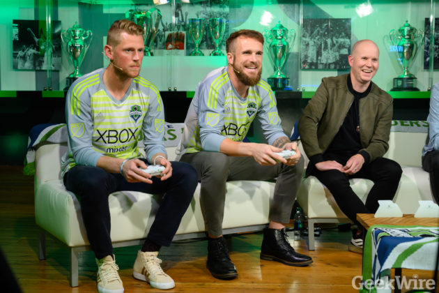 Sounders soccer stars compete for video game bragging rights at FIFA