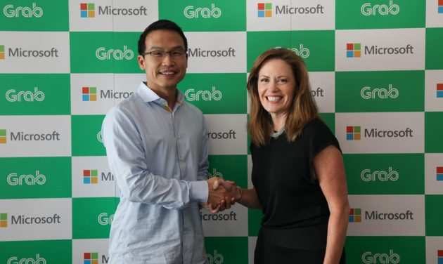 Ming Maa president of Grab, with Peggy Johnson Executive Vice President of Business Development Microsoft