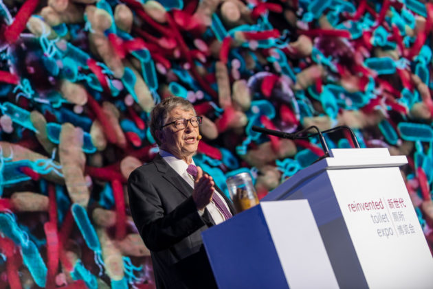 Bill Gates uses poop to show off pioneering toilet