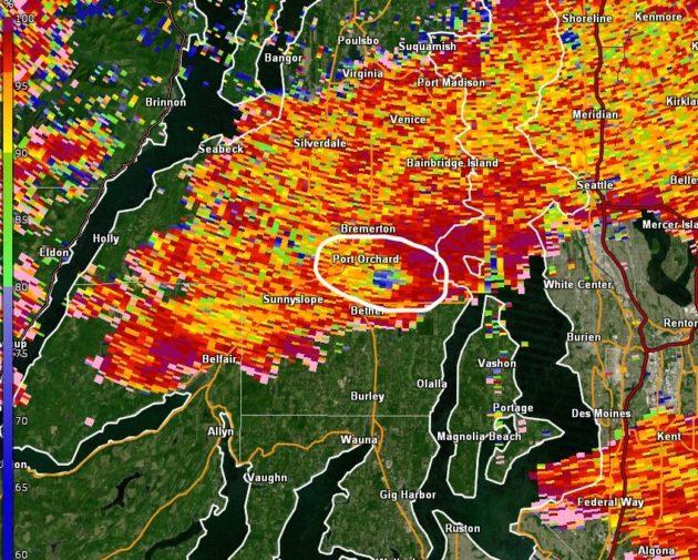 Dopper radar of tornado site