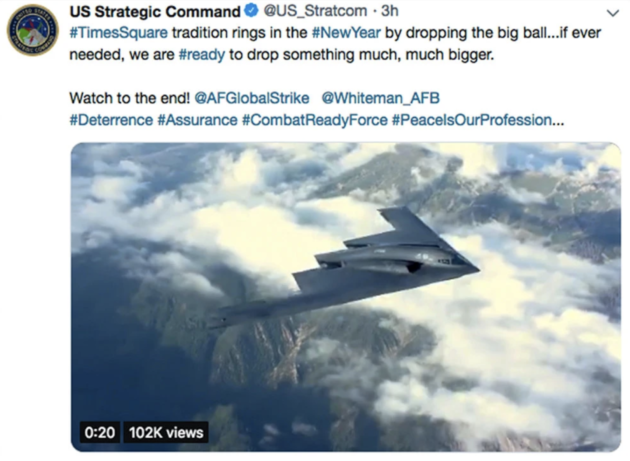 US Strategic Command Apologises For New Year's Tweet About Dropping Bombs
