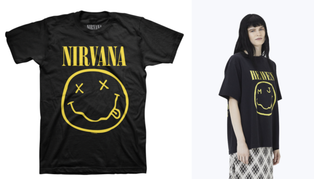 90140b66 The original Nirvana smiley face T-shirt design, left, and the Marc Jacobs  Bootleg Grunge tee. (Shop.Nirvana.com, MarcJacobs.com Photos)