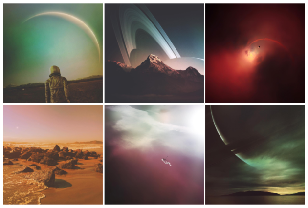 Artist mixes real photographs and his vision of deep space to create an otherworldly Instagram feed