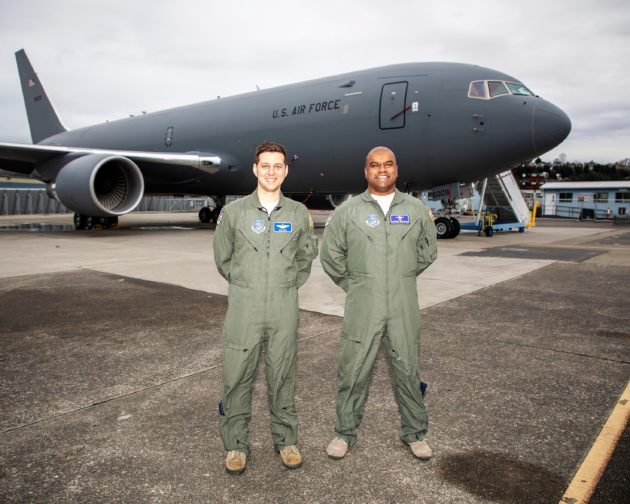 KC-46 tanker and Air Force personnel