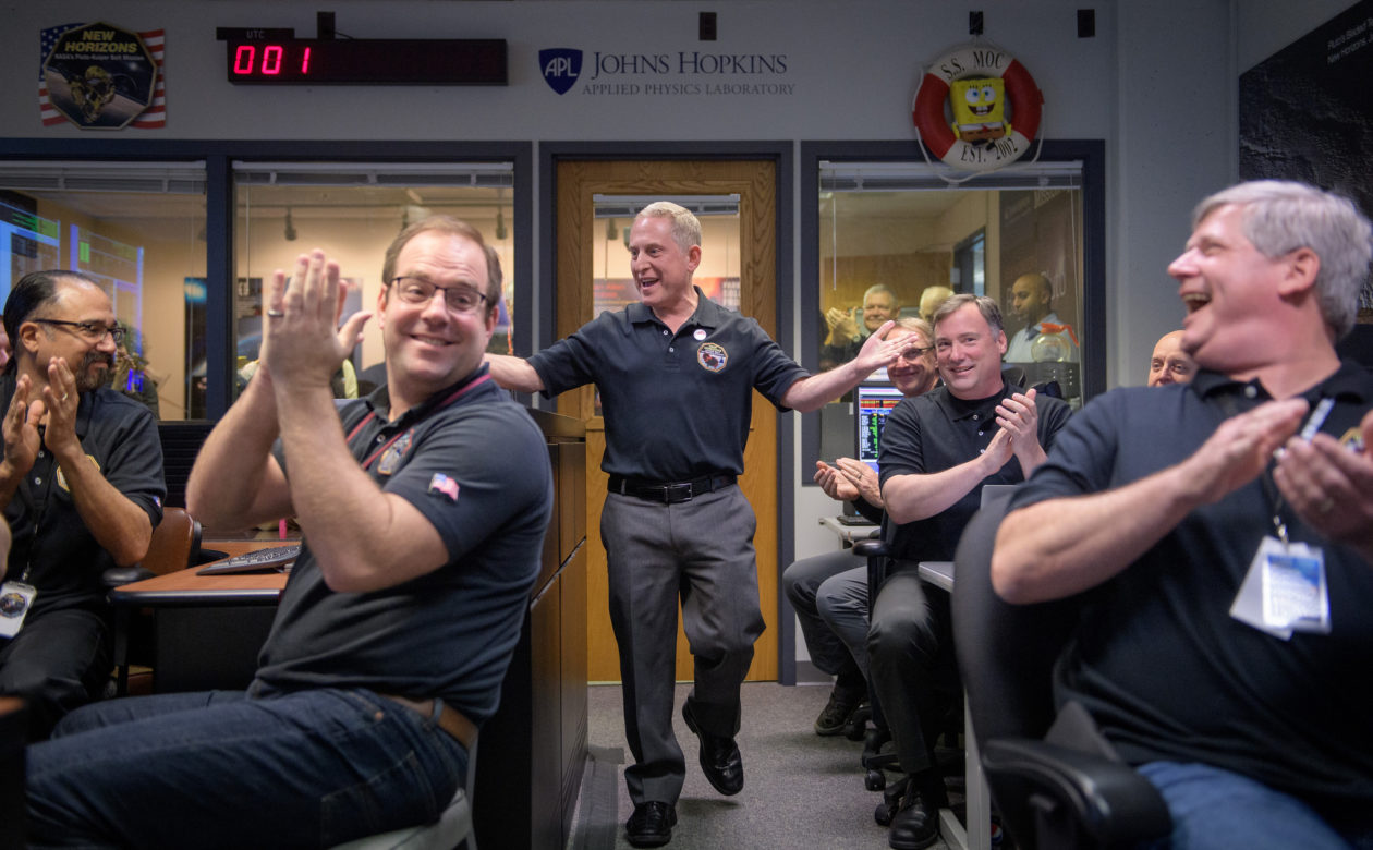 Alan Stern at Mission Operations Center