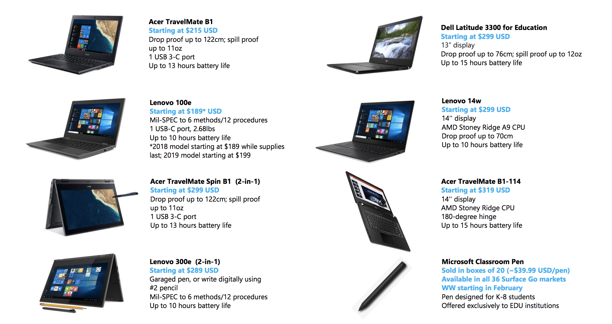 Microsoft debuts new low-cost laptops and 'Classroom Pen