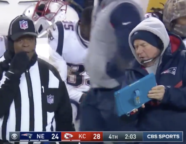 Patriots survive against Chiefs to reach Super Bowl but coach's Microsoft Surface takes a beating