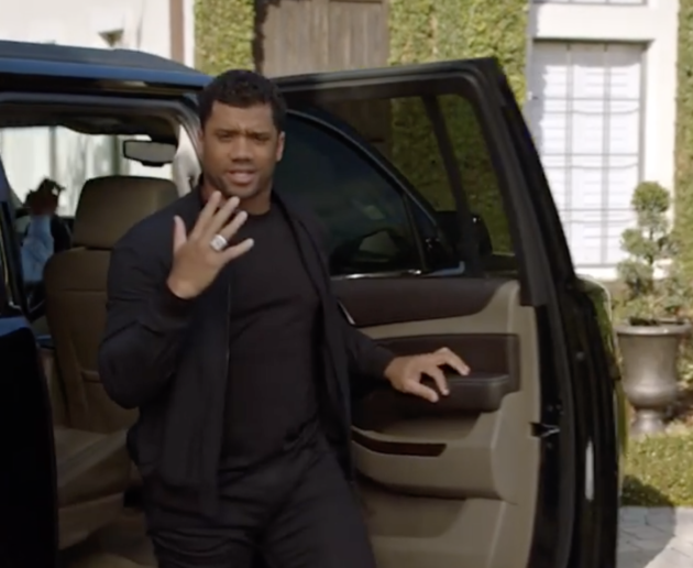 Russell Wilson in a promotional Super Bowl video for Uber Rewards.  (Instagram screen grab) 3b58358b3