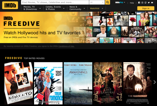 FreeDive, new streaming service from Amazon's IMDb, offers free films, TV