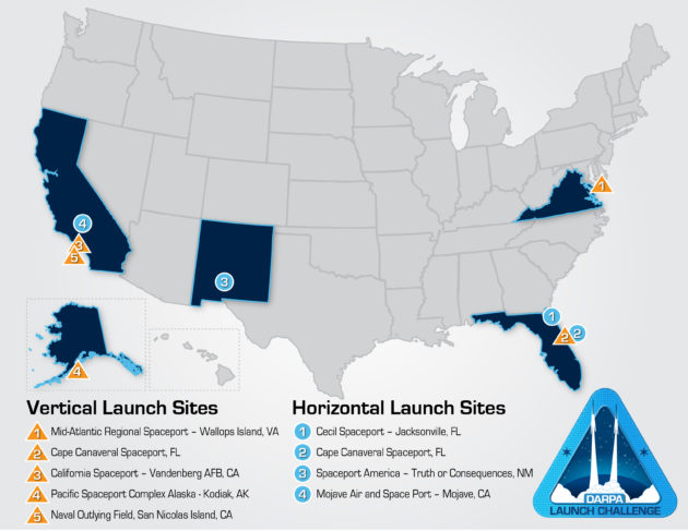 DARPA Launch Challenge sites
