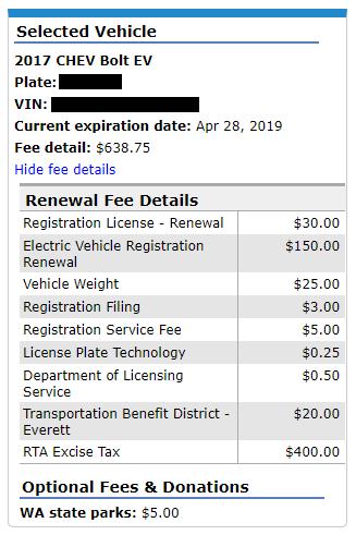 EV registration fee example