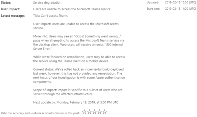 Microsoft Teams kicks off the week by going down for several