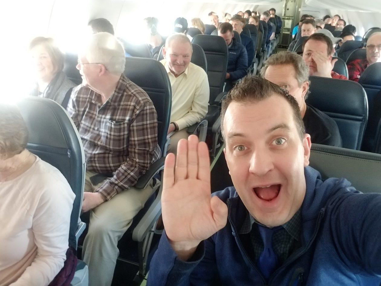 Brian Westbrook on Alaska Air flight