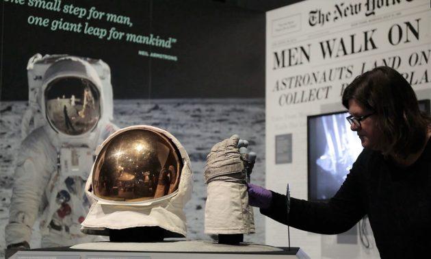Aldrin's helmet and gloves