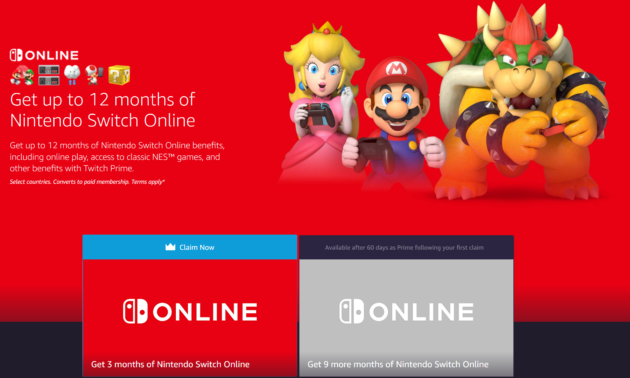 Amazon8217s Newest Twitch Prime Perk Up To A Year Of Free Nintendo Switch Online Access