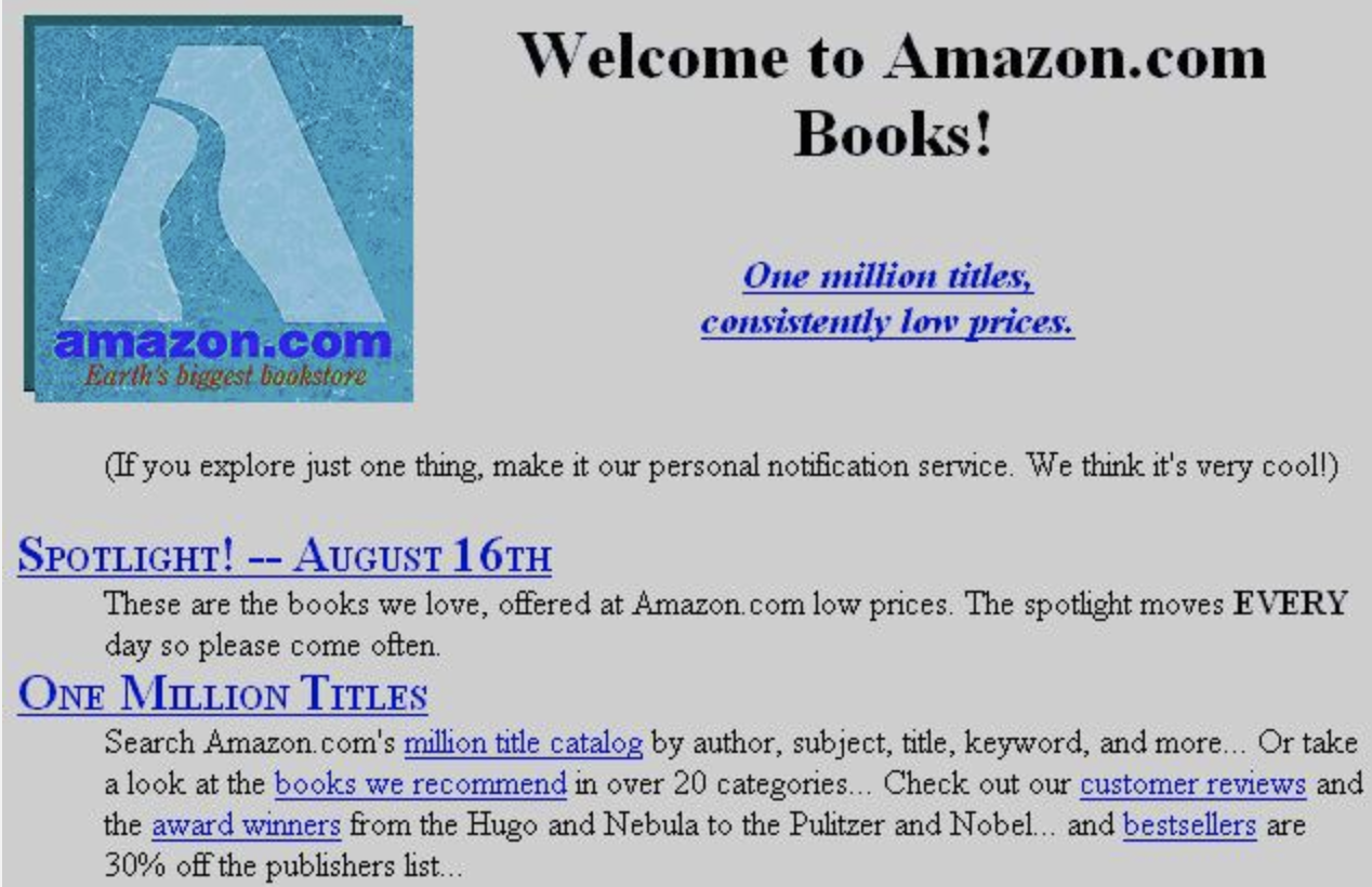 On 30th anniversary of web, Amazon shares first homepage, Google