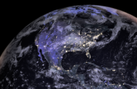 Satellite view of North America at night