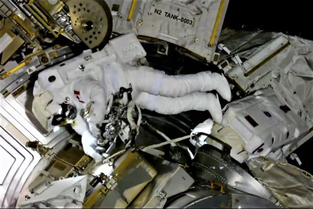 Spacewalkers finish up wiring job in orbit