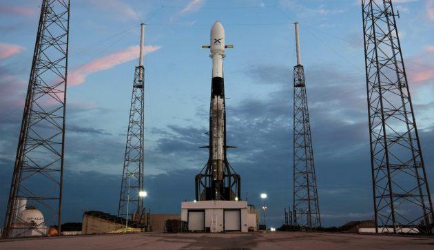 SpaceX rocket with Starlink satellites