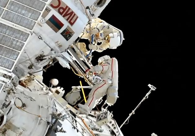 Two Russian cosmonauts venture into open space from Space Station