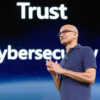 Microsoft CEO Satya Nadella speaks at Build 2019. (GeekWire Photo / Kevin Lisota)