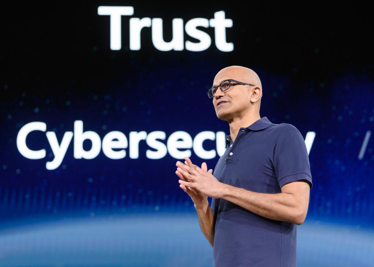 Microsoft CEO Satya Nadella speaks at Build 2019. (GeekWire Photo / Kevin Lisota)