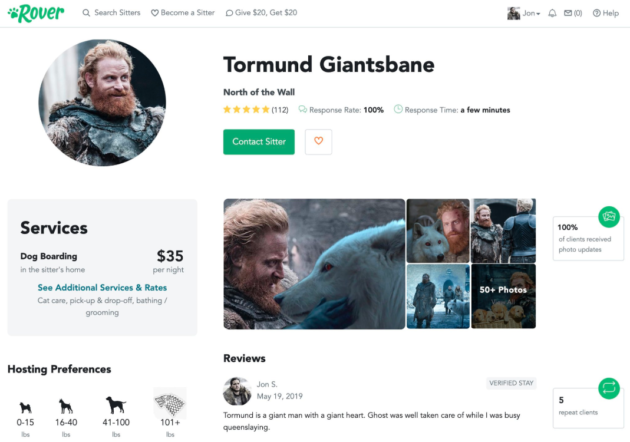 Jon Snow's best friend: Rover creates sitter profile for Tormund after he watched Ghost on 'Thrones'