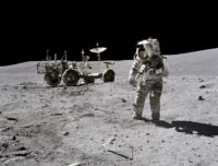 Astronaut John Young and lunar rover