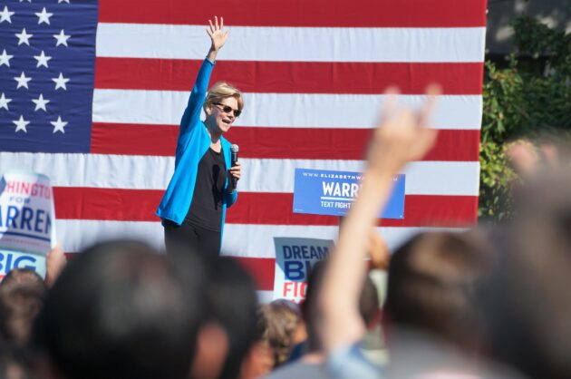 In campaign appearance near Amazon HQ, Elizabeth Warren avoids confronting tech giant on proposed breakup