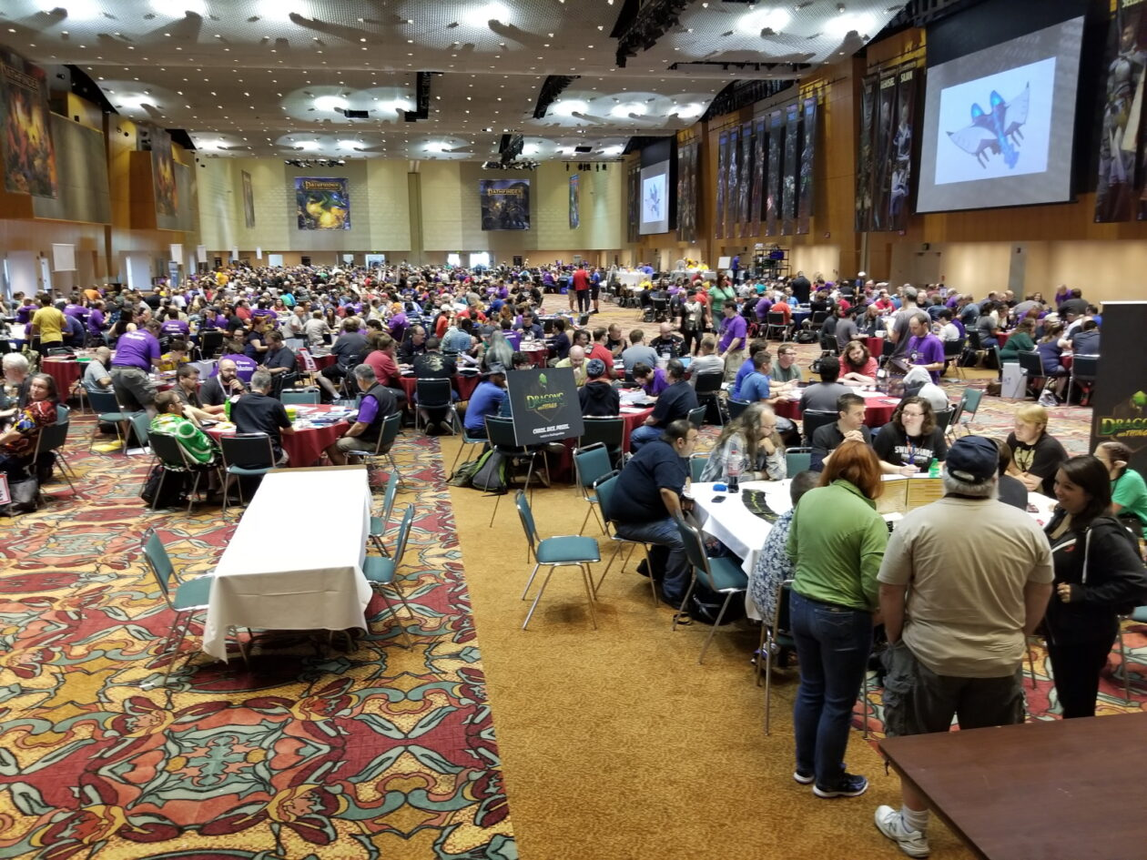 One of many huge ballrooms at Gen Con dedicated entirely to playing a single game, in this case a role-playing game called Pathfinder.