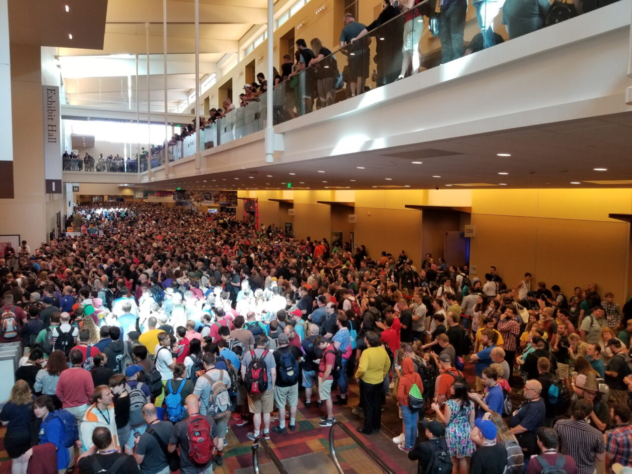 A massive crowd waits for the doors to the main Expo Hall to open at 10AM on Saturday at Gen Con.