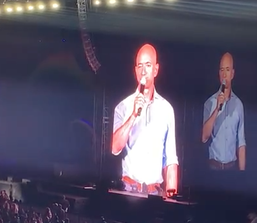 Jeff Bezos shows up on stage at Amazon's epic employee concert, helps introduce Katy Perry