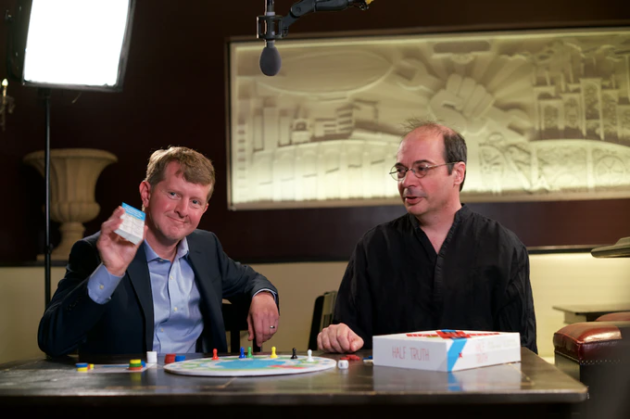 "Ken Jennings and Richard Garfield with their new trivia game ""Half Truth"""