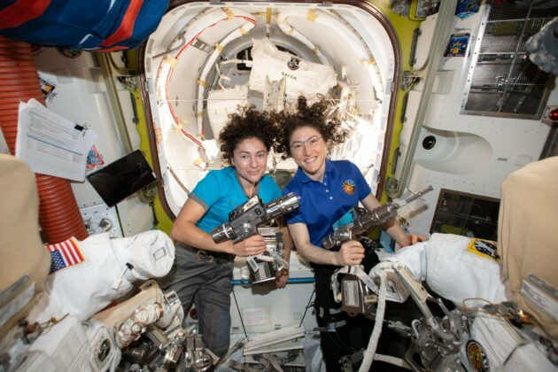 Watch the first all-female spacewalking team fix faulty power unit on space station