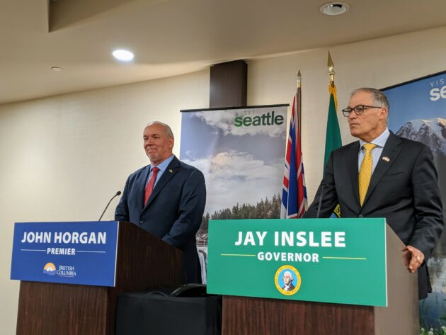 Etat de Washington et B.C. lance une initiative commune sur un réseau propre pour aligner sa transition sur les énergies renouvelables – Newstrotteur inslee horgan1 630x473