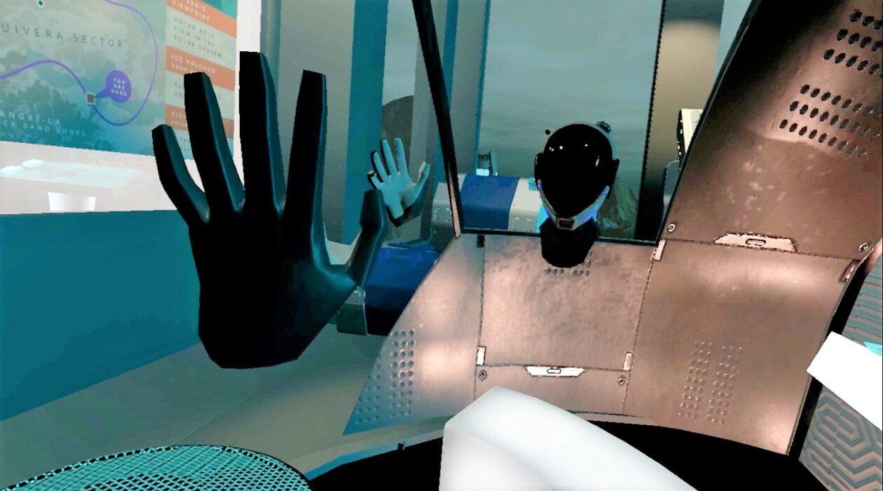 VR view of hands