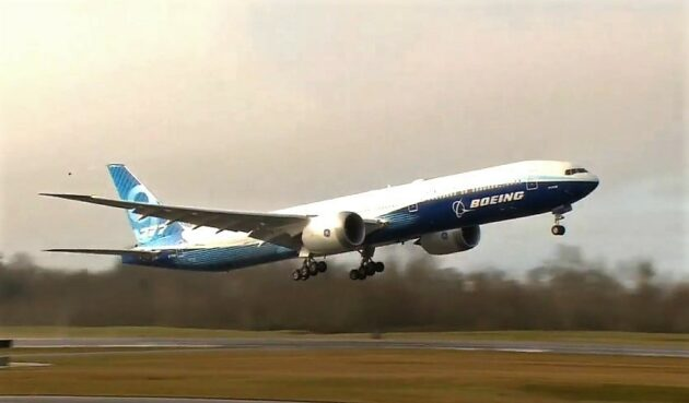 Boeing's 777X wide-body jet takes its first flight after winds spoil first attempt