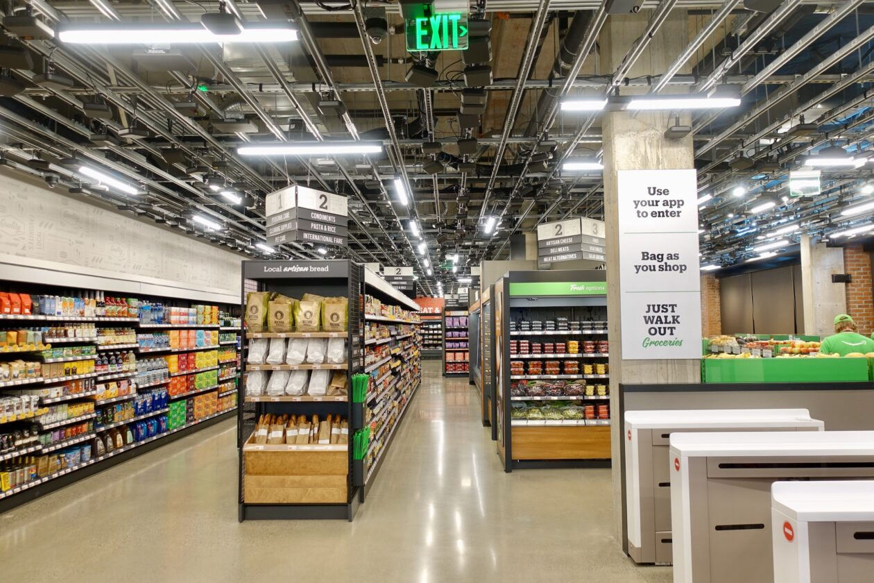 An Amazon Go Grocery store, which uses machine learning to completely remove the need for cashiers.
